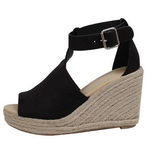 Shoes - Black Perforated Ankle Strap Espadrille Wedge